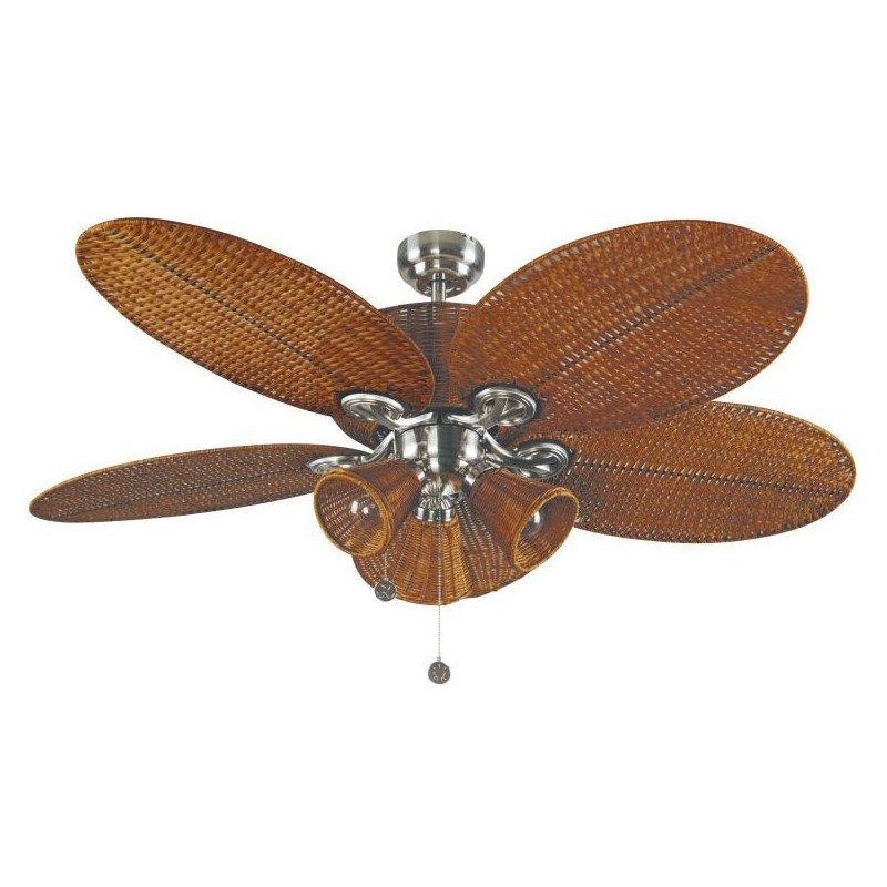 Patio - Deckenventilator, kolonial, 132 Cm Gehäuse Nickel, Flügel braun, mit Beleuchtung
