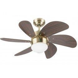 Turbo Swirl Mahagoni. Deckenventilator, 76 cm, Beleuchtung, Mahagoni und Messing