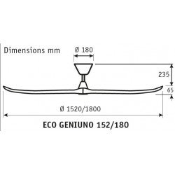 Taurus LBA Home - Deckenventilator Design 155 Cm. Flügel Nussbaum, Gehäuse Chrom