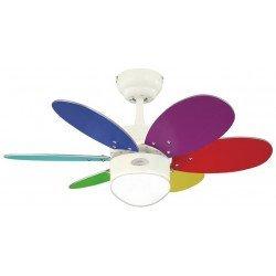 Turbo Swirl Multicolore. Deckenventilator, 76 cm, Mit Licht. weiß, Flügel mehrfarbig