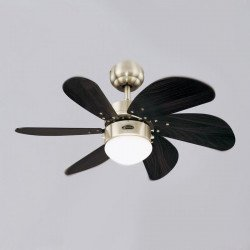 Turbo Swirl Wenge. Deckenventilator, 76 cm, Beleuchtung, gebürsteter Stahl, Flügel Wenge