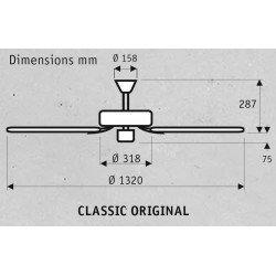 Hunter Deckenventilator Classic 132 Cm Original Sw, schwarz Motorgehäuse, Flügel Walnuss / Kirsche