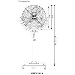 High Speed Standventilator, Hochleistung, 40 Cm, 110 Watt, Höhe 147 Cm ultra leistungsstark