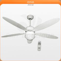 Zephir von LBA Home. Moderner Deckenventilator mit Licht und Fernbedienung, 132 cm, weiß, Wärmerückführung