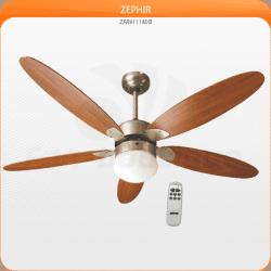 Zephir von LBA Home. Moderner Deckenventilator mit Licht und Fernbedienung, 132 cm, nickel und braun