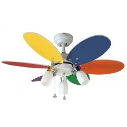 Deckenventilator für Kinder 92 Cm mehrfarbige Flügel und 3 Scheinwerfer