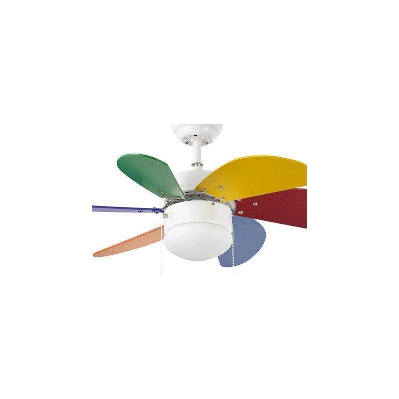 PALAO – moderner Deckenventilator, mehrfarbig, mit Licht, 81 cm