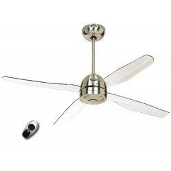 Libelle BN. Deckenventilator mit Fernbedienung, modern, 132 Cm, Chrom gebürstet, transparente Acryl Flügel