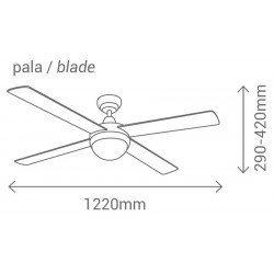 Moderner Deckenventilator 122 cm Satin Chrom, Flügel Wenge und Silber