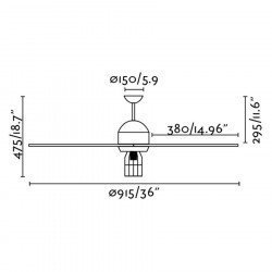 Deckenventilator 91 cm mit integrierter Beleuchtung- CHICAGO - TEAK und Struktur Grau Basalt