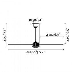 Designer Deckenventilator DC 128 cm TUBE FAN glänzend weißes Glas, und Fernbedienung