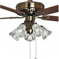 Purline von Klassfan, Toureillo klassischer Deckenventilator Flügel Eiche / Magahoni 152 cm, mit LED-Licht