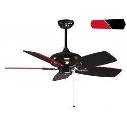 RedWin von Purline KlassFan ein schwarzer, vernickelter Deckenventilator, schwarz / rote Flügel