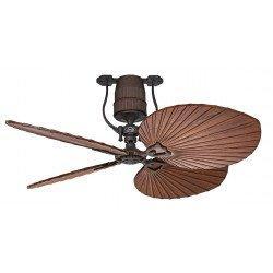 Ventilateur de plafond vintage moteur bronze pales 132 Cm bois cerisier moteur DC , télécommande, Roadhouse BA CASAFAN