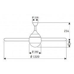 Moderner und leistungsstarker Deckenventilator mit Licht , leise, 132 cm Hunter Lugano