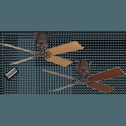 ROADHOUSE – Vintage Still DC Deckenventilator, 152 Cm., Braun antik/ Bronze, Flügel Kirschbaum/Buche