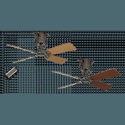 ROADHOUSE – Vintage Still DC Deckenventilator, 132 Cm., Zinn, Flügel Kirschbaum/Buche