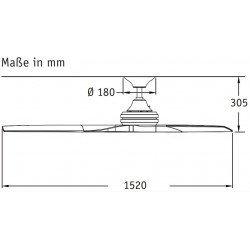Fanimation Spitfire - Design Deckenventilator 152 Cm, Chrom gebürstet, Flügel Walnuss geölt
