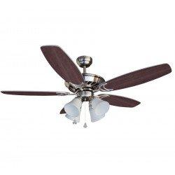 Deckenventilator, Flügel wenge / silber, 132 Cm 4 Tulpen E27 60 Watt