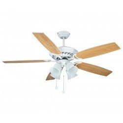 Weißer Deckenventilator, Flügel weiß / Ahorn, 132 Cm , 4 Tulpen E27 60 Watt