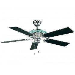 Deckenventilator, klassisch und modernen, integriertes Licht, poliertes Chrom, schwarze Flügel