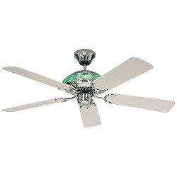 Merkur WE von Casafan - Deckenventilator,  klassisch und modernen, integriertes Licht, poliertes Chrom, weiße Flügel