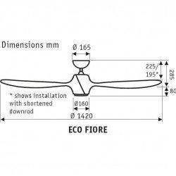 Eco Fiore 142 Cm Design Deckenventilator, weiß, LED-Licht und Fernbedienung