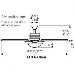 Eco Gamma - Moderner Deckenventilator, 103 cm, Chrom gebürstet, Buche/Ahorn, extrem sparsam, Fernbedienung