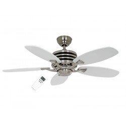 Eco Gamma - Moderner Deckenventilator, 137 cm, Chrom gebürstet, Flügel Lack weiß/hellgrau, extrem sparsam, Fernbedienung