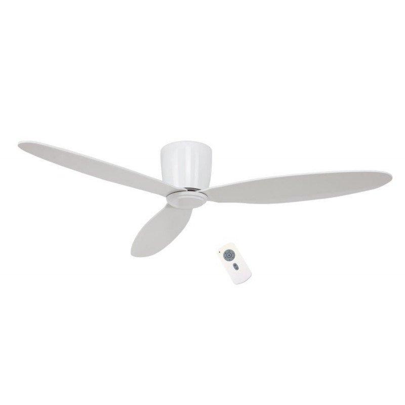 Eco Plano - moderner DC Deckenventilator, 132 Cm, Fernbedienung, Gehäuse Lack weiß, Flügel Lack weiß