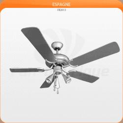 Deckenventilator 132 cm, 3 starke Lichtstrahler, silbergraue Flügel