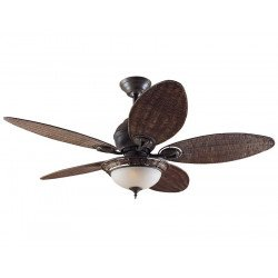 Hunter Deckenventilator Caribbean Dream patinierte Bronze, Wicker Blades, mit Licht 137 cm