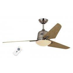 Eco AVIATOS - moderner Deckenventilator DC, 132 Cm, Ahorn Flügel, Gehäuse in Chrom gebürstet, Beleuchtung, ultra ruhiger Lauf