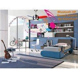 Moderner Deckenventilator 95 cm mit Bluetooth-Lautsprecher, Polycarbonat-Flügel 4 mehrfarbig von 95 Cm
