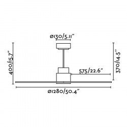 Faro Nassau - Moderner Deckenventilator, ruhig, DC 132 cm, schwarz, Flügel Holz