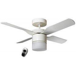 Multimax WE. Moderner Deckenventilatormit Licht und Fernbedienun, 132 cm, Flügel weiß / Ahorn CASAFAN