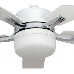 Extra Großer Deckenventilator weiß und nickel 132 cm mit Licht und Fernbedienung.