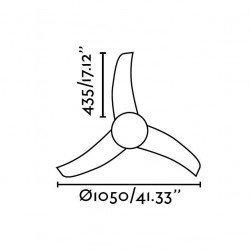 FARO EASY  - Deckenventilator, modern, weiß, 105 cm.,mit Licht, IR-Fernbedienung,