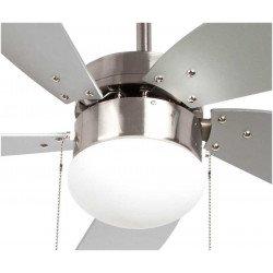 Deckenventilator 107 cm mit integrierter Lampe - LIBE SILVER - Silberne Flügel.