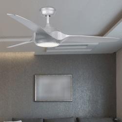 Deckenventilator DC Design 132 cm silbergrau mit LED-Lampe und Fernbedienung