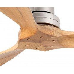 Deckenventilator, Design, 108 cm, für Schlafzimmer oder Büro, Flügel Walnuss aus Massivholz, Chrom, Faro Mini LANTAU 33509