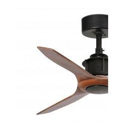 Deckenventilator, Design, DC, 91 cm, Flügel Imitation Holz, schwarzer Motor, FARO JUST FAN 33, von CONILLAS