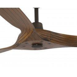 Morea von Faro. 152 cm, DC Deckeventilator mit Fernbedienung und ohne Licht, Rückwärtslauf, modern, Basaltrgrau und Nussbaumholz