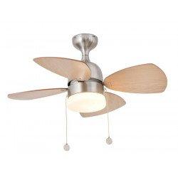 90 cm Deckenventilator mit integrierter Lampe, Wendeflügel Machagony und Ahorn, Gehäuse Nickel matt - MEDITERANEO
