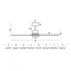 Designer Deckenventilator 168 Cm, Flügel massives Nussbaumholz, Chrom, Faro LANTAU-G faro