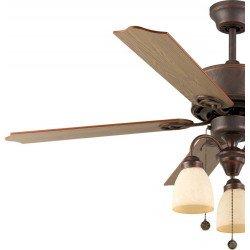 Deckenventilator 120 cm, 3 leistungsstarke Leuchten, Motor Bronze Antik, Flügel -Eiche