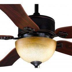 Deckenventilator 120 cm, mit Licht, schwarz / Bronze Antik, Flügel Kirsche