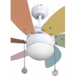 Deckenventilator 65 cm, mit Lampe, pastellfarbene Flügel, ideal für Kinderzimmer