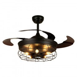 Brown Shadow von LBA HOME, ein Original- und Retro-Lichtpunkt mit einziehbaren Blättern, ein sehr effizienter Ventilator.