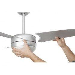 Deckenventilator, modern, weiss, 107 cm. mit Lampe, IR-Fernbedienung